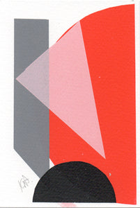 Katrina Russel-Adams - Black Pink Red Monoprint on paper 6x4