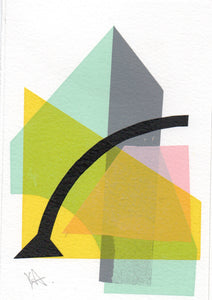 Katrina Russel-Adams -Yellow Pink Grey Mint Monoprint 6x4