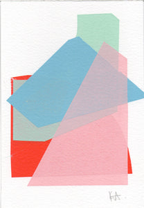 Katrina Russell-Adams -Pink Blue Green Red Mono Print 6x4