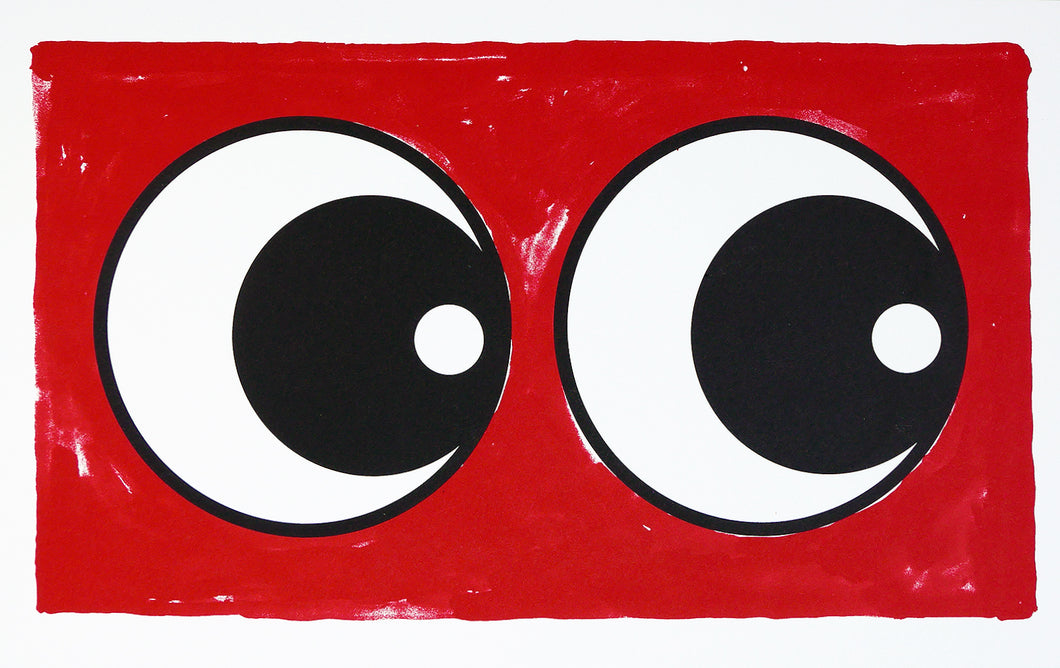 Making Eye Ruby red screen print - Adam Bridgland