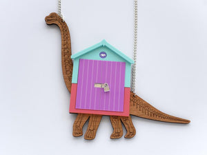 Brachiosaurus beach hut necklace Designosaur