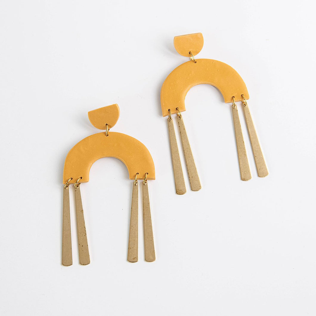 Frankie Earrings in Mustard - By Pepper You