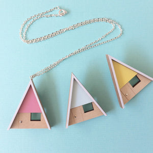 Tiny Scenic Pink A-Frame Cabin Necklace
