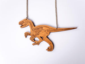 Velociraptor dinosaur skeleton statement necklace Designosaur