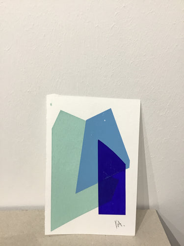 Katrina Russell- Adams - Blues mono-print on paper 6x4 inch