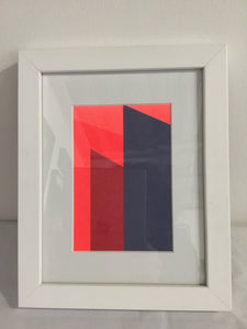 Frea Buckler - Screenprinted original one off postcard Flouro reds and grey