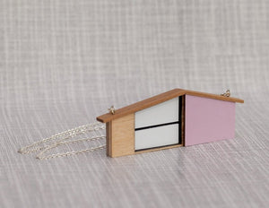 Tiny Scenic - Lilac Wooden House Necklace