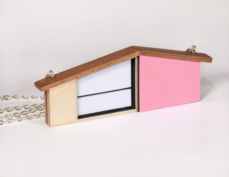 Tiny Scenic - Pink Wooden House Necklace