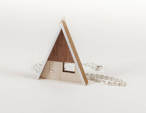 Tiny Scenic - Wood A-Frame Cabin Necklace