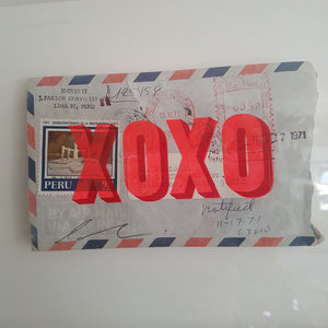 XOXO on Airmail Envelope framed - Dave Buonaguidi