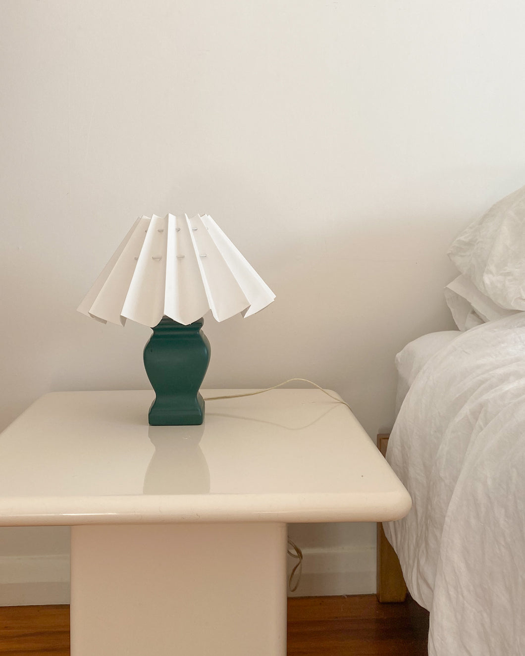 Forest Green Lamp with white pleated lampshade