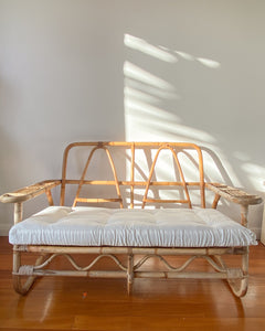 Cane Two Seater w/ white cushions