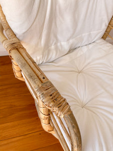 Cane Armchair with white cushion