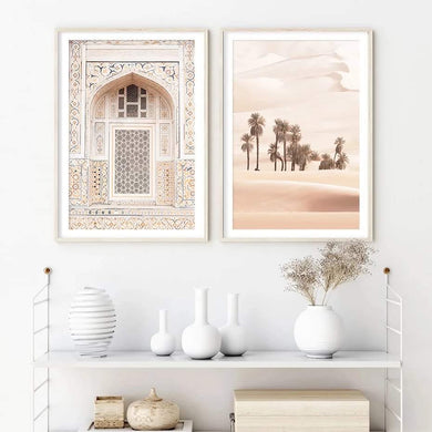 Canvas Prints unframed sun orange colours palm trees Moroccan arch