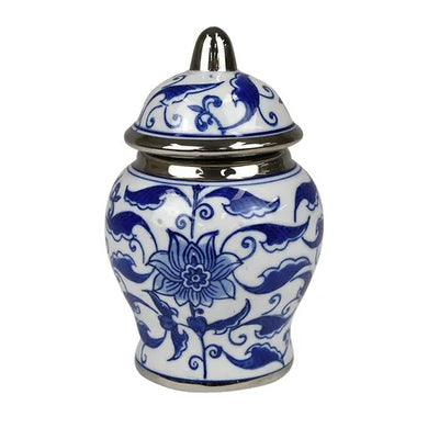 Blue and white Trinket Jar with lid silver trim band