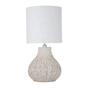 Whitewash Bamboo Table Lamp with White Shade