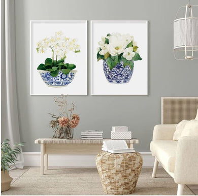 Hamptons Style Blue and White Print Orchids and Magnolias