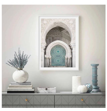 Moroccan style arch with a white arch and blue inside