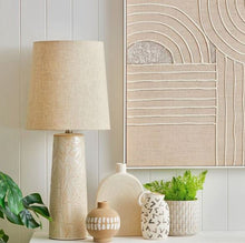 Load image into Gallery viewer, Linen Look Lam Shade and Ceramic Base in Sand Pattern and natural colour base