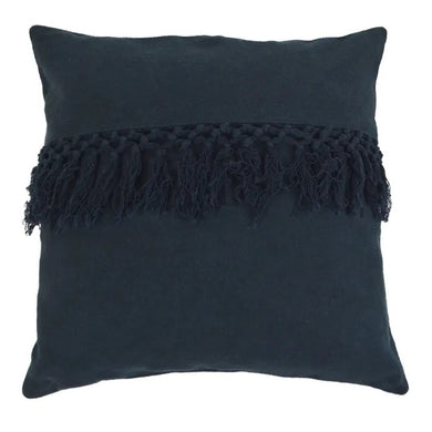 Hamptons Style Navy Cotton Cushion with Fringe