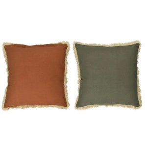 Cotton Reverse Cushion Rusty and Green with Beige fringe