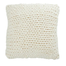 Load image into Gallery viewer, Wool Knitted Cushion White with Pink Stitching on Edge