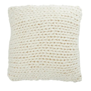 Wool Knitted Cushion White with Pink Stitching on Edge