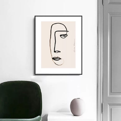 Canvas print light pink back ground line drawing of a female face