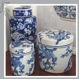 Hamptons Style Blue and White Porcelain Trinket Jar