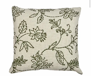 Amy Cotton Cushion Ivory/Green