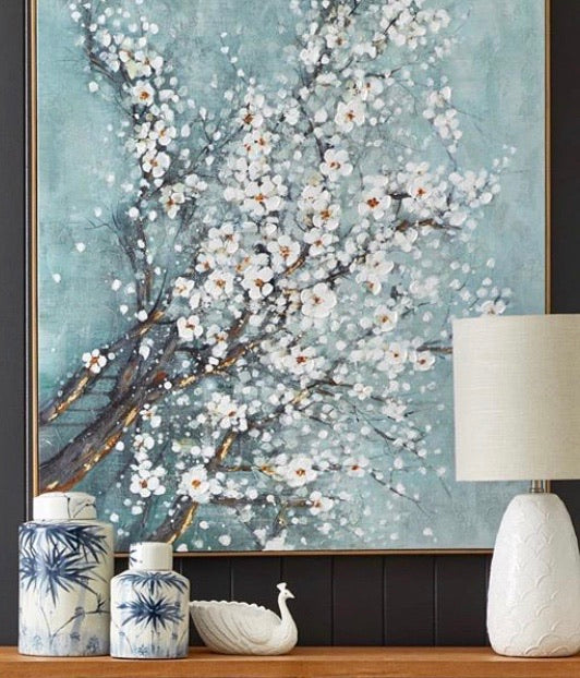Cherry Blossom Oil Painting with Oak Frame