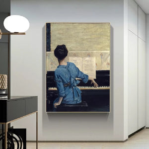 Girl at the Piano 50 x 70 cm (Unframed)