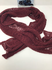 100% Qiviut scarf Flowing lace Arctic Red.