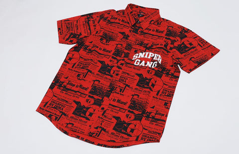 SG Headlines Button-Up Shirt (Red)