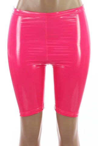 LATEX PINK BIKER SHORTS