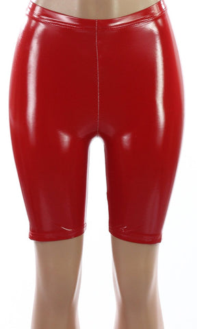 LATEX RED BIKER SHORTS