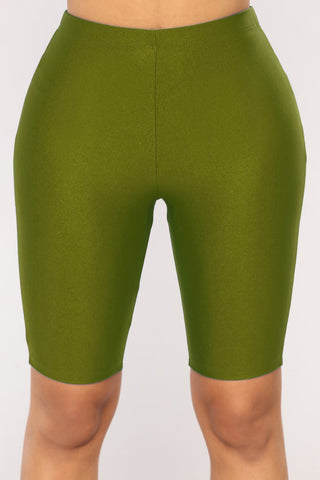 NYLON GREEN BIKER SHORTS