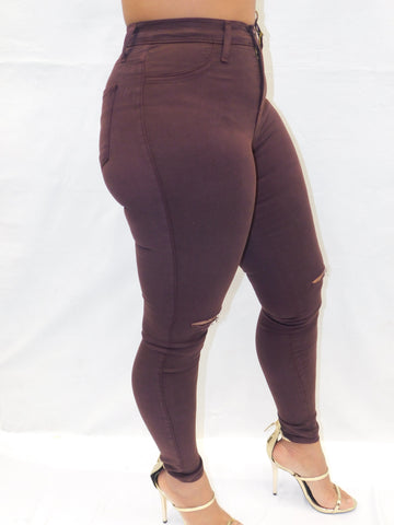 PLUM COLOR KNEE SLIT PANTS