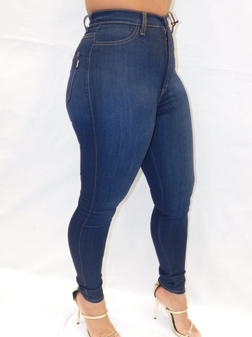 HIGH WAIST DENM DARK STONE WASH
