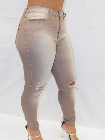 TAUPE KNEE CUT OUT WITH CUFFED HEM