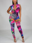 Print Mesh Sleeveless Jumpsuit