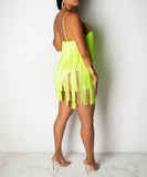 Fringe V-Neck Lime Dress