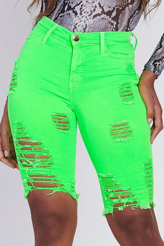 Neon Distressed Bermuda Shorts GREEN
