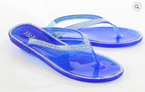 Jelly Flip Flops Blue