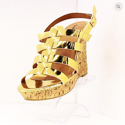 Qupid Strappy Wedge - Gold