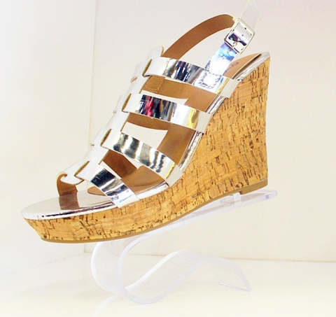 Qupid Strappy Wedge - Silver