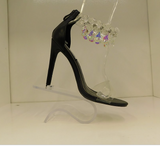 CAPE ROBBIN BLACK CRYSTALIZE BEADED HEELS