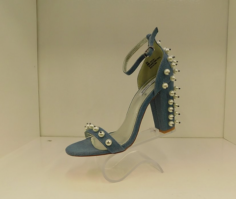 CAPE ROBBIN DENIM HEEL WITH PEARLS
