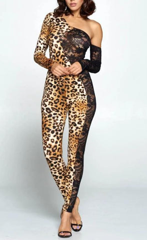 SPLIT LACE LEOPARD JUMPSUIT