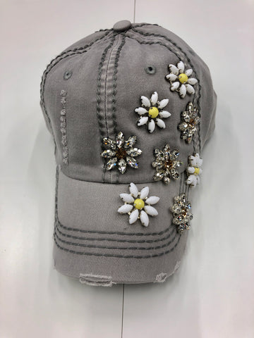 Glitz Grey Flower Detail Baseball Cap